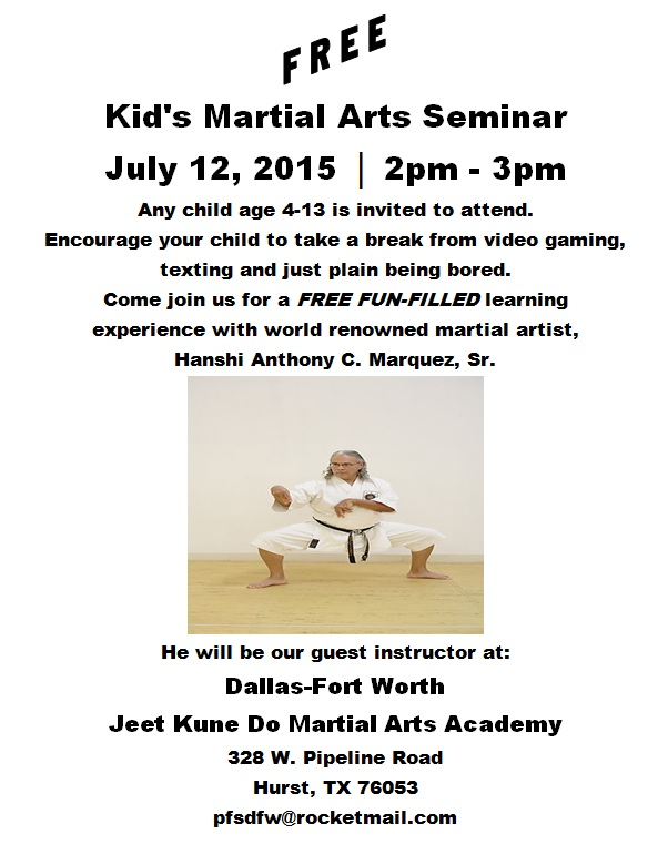 Free kids seminar by Hanshi Marquez