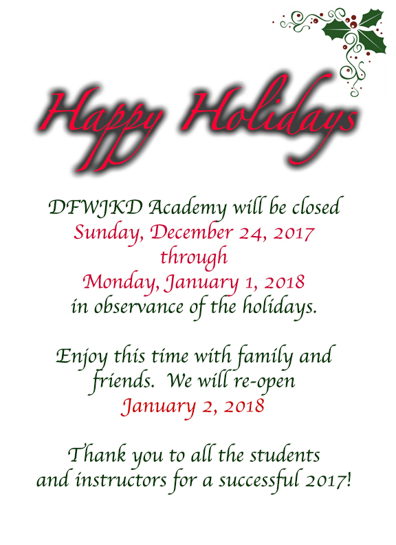 DFWJKD Holiday Schedule